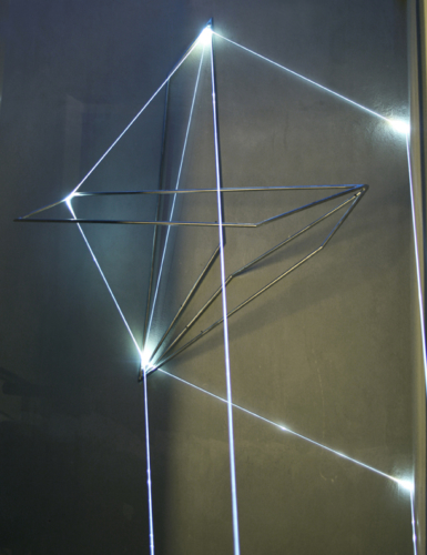 06 Carlo Bernardini, The Corner's Revenge  2011, optic fibres, stainless steele (part.) feet h 66x11x14; MACRO Museo d'Arte Contemporanea di Roma.