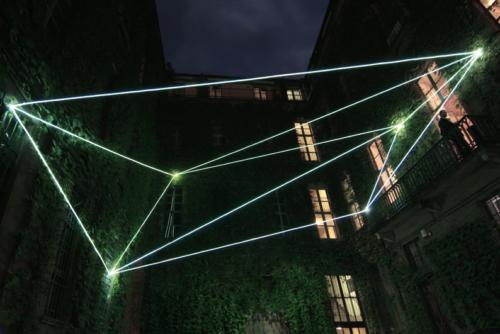 13 Carlo Bernardini, Suspended Crystallization 2010; optic fibers installation, feet h (from ground) 35x41x47. Luci d'Artista 2010, Turin XIII edizione, Palazzo Bertalazone di San Fermo XVII sec.