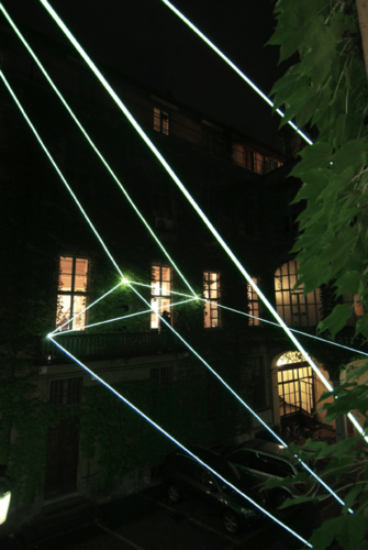 14 Carlo Bernardini, Suspended Crystallization 2010; optic fibers installation, feet h (from ground) 35x41x47. Luci d'Artista 2010; Turin XIII edizione, Palazzo Bertalazone di San Fermo XVII sec.