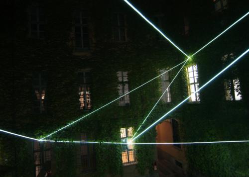 15 Carlo Bernardini, Suspended Crystallization 2010; optic fibers installation, feet h (from ground) 35x41x47. Luci d'Artista 2010, Turin XIII edizione; Palazzo Bertalazone di San Fermo XVII sec.