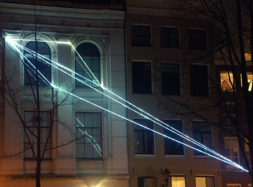 16 Carlo Bernardini, The Light that Generates Space 2010, optic fibers installation, feet h (from ground) 55x55x36. NIMk - Netherlands Media Art Institute, Sonic Acts, The poetics of space, Amsterdam.