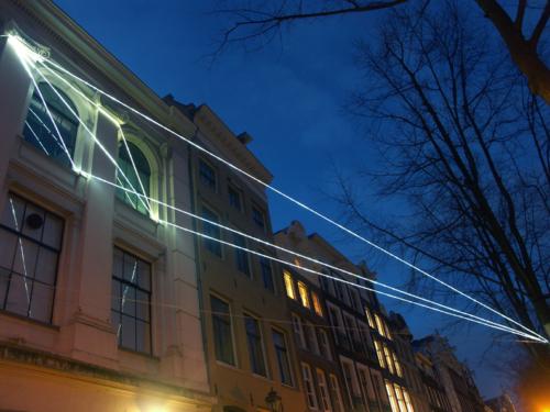 17 Carlo Bernardini, The Light that Generates Space 2010, optic fibers installation, feet h (from ground) 55x55x36. NIMk - Netherlands Media Art Institute; Sonic Acts, The poetics of space, Amsterdam.