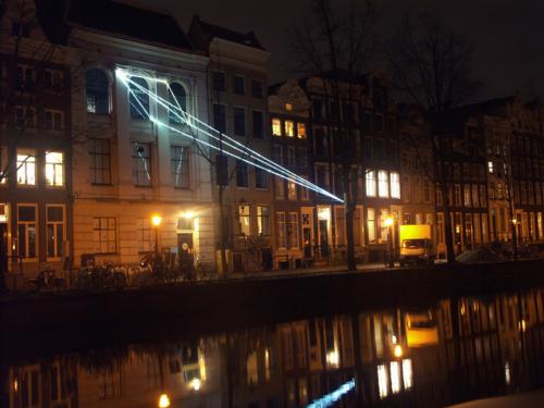 18 Carlo Bernardini, The Light that Generates Space 2010, optic fibers installation, feet h (from ground) 55x55x36; NIMk - Netherlands Media Art Institute, Sonic Acts, The poetics of space, Amsterdam.