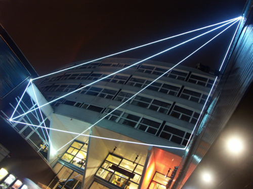 20 Carlo Bernardini, Space Interrelations 2010, optic fibers installation, feet h (from ground) 55x66x47; Theater ah Spui, Spuiplein, Todaysart, The Hague.