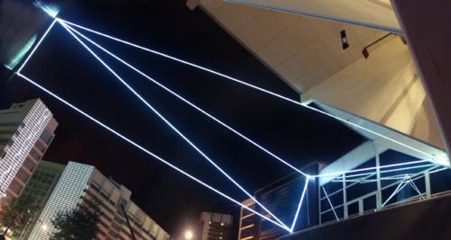 21 Carlo Bernardini, Space Interrelations 2010, optic fibers installation, feet h (from ground) 55x66x47. Theater ah Spui, Spuiplein, Todaysart, The Hague.