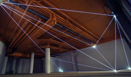 23 Carlo Bernardini, Vacuum 2011, optic fibers installation, feet h 14x58x52; Delloro Arte Contemporanea, Berlin.