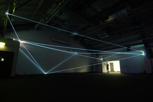 27 Carlo Bernardini, Drawing of the Vacuum 2011, optic fibers installation, feet h19x74x37, Kinetica Art Fair, Prewiew - The Arc Show, Business Design Centre, London.