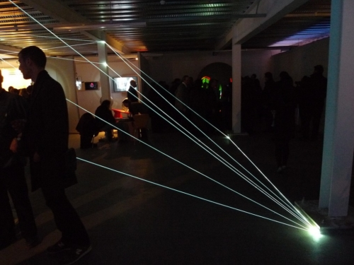 34 Carlo Bernardini, Matter is the Vacuum 2011, optic fibers installation, feet h 14x37x22. Kinetica Art Fair, Ambika P3, University of Westminister, London.