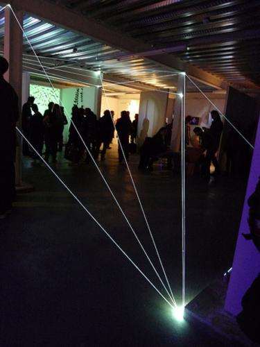 35 Carlo Bernardini, Matter is the Vacuum 2011, optic fibers installation, feet h 14x37x22; Kinetica Art Fair, Ambika P3, University of Westminister, London.