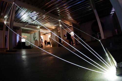 36 Carlo Bernardini, Matter is the Vacuum 2011, optic fibers installation, feet h 14x37x22, Kinetica Art Fair, Ambika P3, University of Westminister, London.