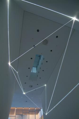 38 Carlo Bernardini, Drawing of the Vacuum 2011, optic fibers installation, feet h (from ground) 27x52x19; Bocconi Art Gallery, Università Bocconi, Milan.