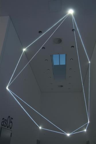 39 Carlo Bernardini, Drawing of the Vacuum 2011; optic fibers installation, feet h (from ground) 27x52x19. Bocconi Art Gallery, Università Bocconi, Milan.
