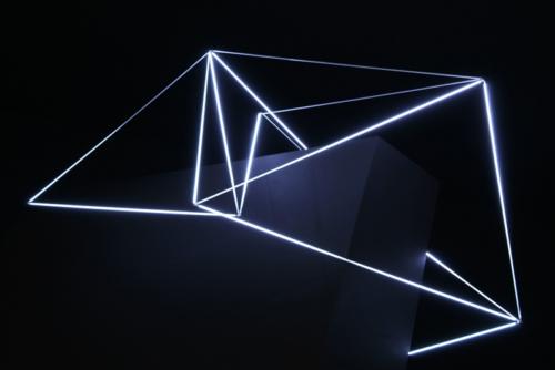 40 Carlo Bernardini, Ecliptic Orbit 2011; Tesla coil, micro neons of 3 mm (diameter), feet h 4x6x3. Principia - Stanze e sostanze delle arti prossime, Padiglioni Molecolari, Piazza Duomo, Milan.