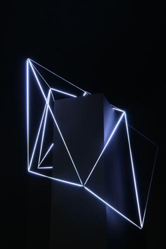 41 Carlo Bernardini, Ecliptic Orbit 2011; Tesla coil, micro neons of 3 mm (diameter), feet h 4x6x3; Principia - Stanze e sostanze delle arti prossime, Padiglioni Molecolari, Piazza Duomo, Milan.