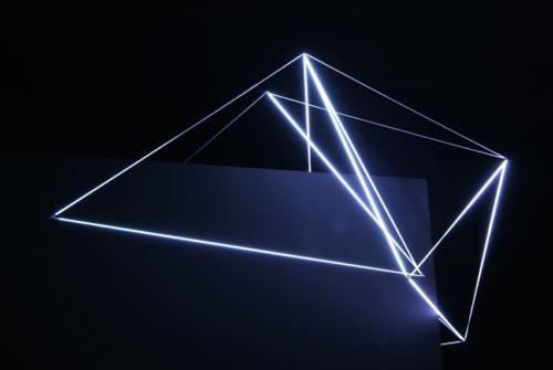 42 Carlo Bernardini, Ecliptic Orbit 2011, Tesla coil, micro neons of 3 mm (diameter), feet h 4x6x3. Principia - Stanze e sostanze delle arti prossime, Padiglioni Molecolari, Piazza Duomo, Milan.