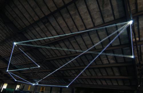 43 Carlo Bernardini, Field of Organic Light 2011; optic fibers installation, mt h (from ground) 5,5x10x5. The Road to Contemporary Art, Ex Mattatoio di Testaccio, Rome.