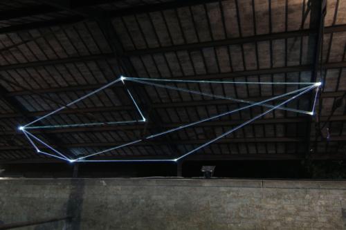 44 Carlo Bernardini, Field of Organic Light 2011; optic fibers installation, mt h (from ground) 5,5x10x5; The Road to Contemporary Art, Ex Mattatoio di Testaccio, Rome.
