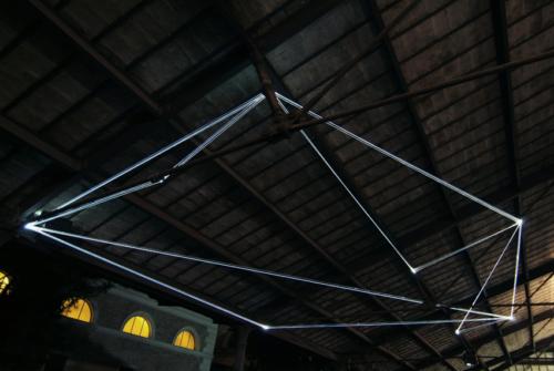 45 Carlo Bernardini, Field of Organic Light 2011, optic fibers installation, mt h (from ground) 5,5x10x5. The Road to Contemporary Art, Ex Mattatoio di Testaccio, Rome.