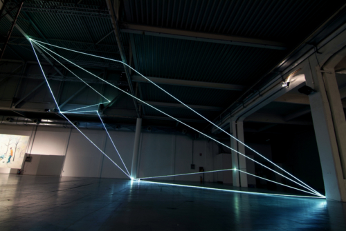 46 Carlo Bernardini, Progressive Code 2010; optic fibers installation, feet h 44x44x66. XXL, Superstudio Più, Milan.