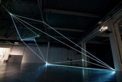 46 Carlo Bernardini, Progressive Code 2010; optic fibers installation, feet h 44x44x66. XXL, Superstudio Più, Milan.