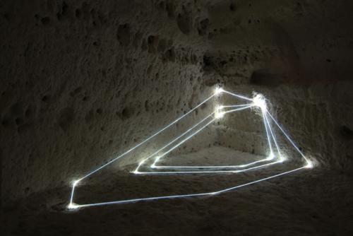 50 Carlo Bernardini, Progressive Code 2010; optic fibers installation, feet h 3,5x14x7; MUSMA, Museo della Scultura, Matera.