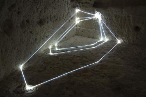 51 Carlo Bernardini, Progressive Code 2010; optic fibers installation, feet h 3,5x14x7. MUSMA, Museo della Scultura, Matera.