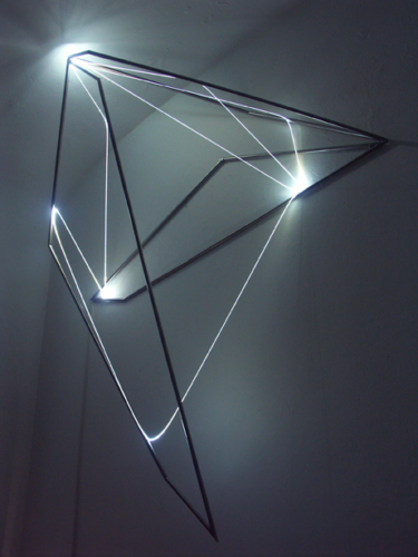 54 Carlo Bernardini, Progressive Code 2010; optic fibers, stainless steele, feet h 5x4,5x1,5; Delloro Arte Contemporanea, Rome.