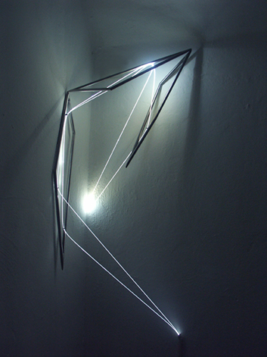 56 Carlo Bernardini, Progressive Code 2010; optic fibers, stainless steele, feet h 4x2x1; Delloro Arte Contemporanea, Rome.