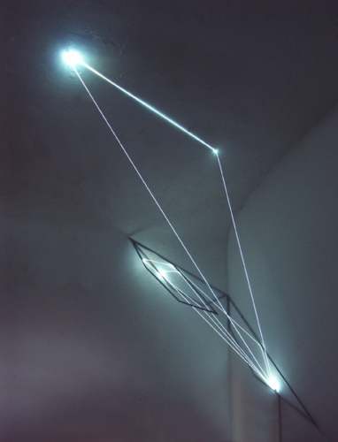 57 Carlo Bernardini, Progressive Code 2010; optic fibers, stainless steele, feet h 7x7x3; Delloro Arte Contemporanea, Rome.