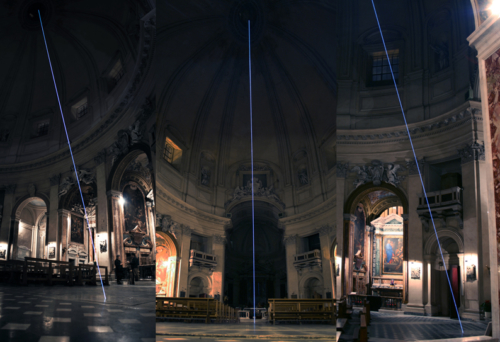 59 Carlo Bernardini Light beyond the matter, 2011 Optic Fiber installation, feet h mt 128 x 39. Basilica S.Maria in Montesanto Rome