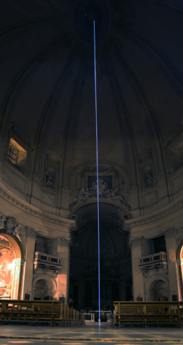 60 Carlo Bernardini Light beyond the matter, 2011 Optic Fiber installation, feet h mt 128 x 39 Basilica S.Maria in Montesanto, Rome