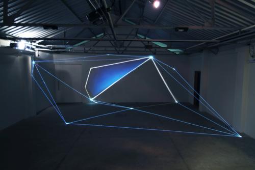02 Carlo Bernardini Light Tension, 2012 Optic fibers, video, light projection, feet h 11 x 44 x 30. Funarte, FAD Festival de Arte Digital, Belo Horizonte
