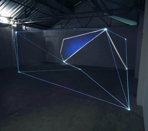 03 Carlo Bernardini Light Tension, 2012 Optic fibers, video, light projection, feet h 11 x 44 x 30. Funarte, FAD Festival de Arte Digital, Belo Horizonte