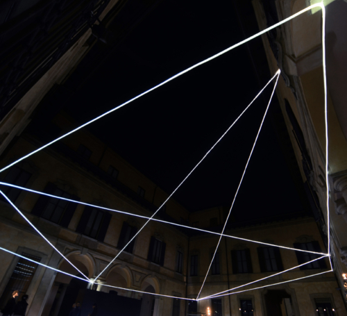 11 Carlo Bernardini Magnetic field, 2012 Optic fibers, feet h 25 x 58 x 77. Palazzo Clerici, Milan