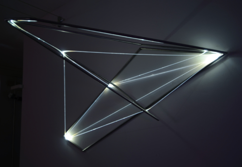 16 Carlo Bernardini Matter is the vacuum, 2012 Optic fibers, stainless steel, feet h 5 x 8 x 4,5. Grossetti arte contemporanea, Milano