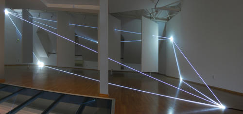 nvisible Dimensions, 2014Optic fibers installation, feet h (from ground) feet h 14,5 x 38 x 29Bratislava, Museum Milan Dobesha.