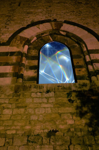 The Light Walk, 2014Environmental installation, electroluminescent cable, optic fibers, olf - optical lighting film, glass, feet h 47 x 660 x 11.Prato, Castello dell'Imperatore, Cassero Medioevale.