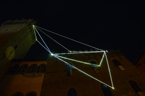 The breath of the vacuum, 2014Optic fibers installation, mt h 35 x 20 x 8.Icastica 2014, Piazza della Libertà, Arezzo.