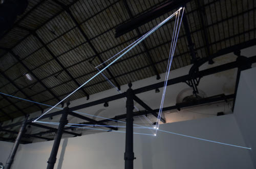 Suspended Vacuum, 2013Optic fibers installation, mt H 12 x 22 x 9.Digital Life, MACRO Testaccio, Roma.