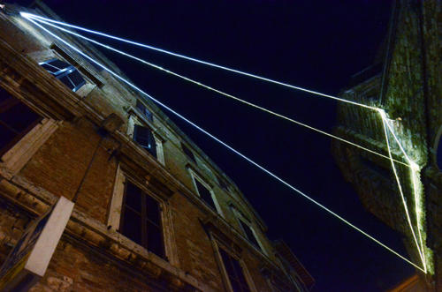 Corporeality of Light, 2013 Optic fibers installation, mt h 7 x 20 x 6,5.Perugia, Via dei Priori - Torre degli Sciri.