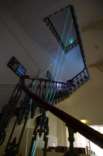 Corporeality of Light, 2013 Optic fibers installation, mt h 12 x 2 x 3.London, The House Peroni.
