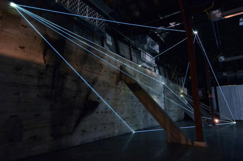 Light Trasformation, 2015Optic fibers installation, mt h 6 x 21  x 5.Illumination, Austin (TX).