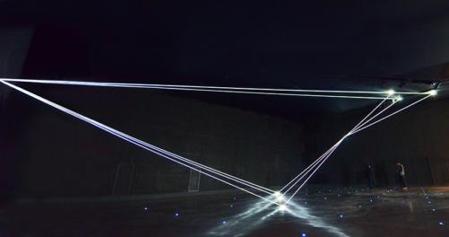 Invisible Dimensions, 2016 Optic fibers installation, mt H 5,22 x 18,50 x 7,00.Milano, La Porta di Milano, Aeroporto di Malpensa, (Terminal 1).