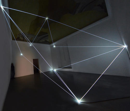 On the visible ridge, 2016Optic fibers installation, h cm 575 x 710 x 670.Firenze, Galleria Eduardo Secci contemporary.