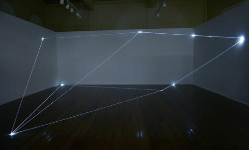 Invisible Dimensions, 2015Optic fibers installation, mt h 3 x 8 x 6.MUSA, Museu de Arte da UFPR, Universidade Federal do Paraná, Bienal de Curitiba.
