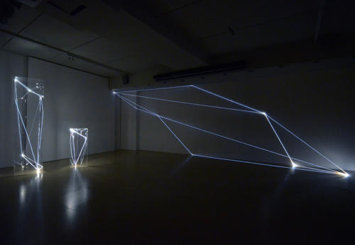 Invisible Dimensions, 2016 Optic fibers installation, mt h 3 x 9 x 1,50.Legnago (VR) FerrarinARTE.