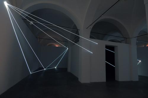 02 Carlo Bernardini Beyondlimit, 2016 Fiber optic installation, mt h 4,5 x 11 x 12. Mata, Ex Manifattura tabacchi, Modena
