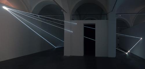 03 Carlo Bernardini Beyondlimit, 2016 Fiber optic installation, mt h 4,5 x 11 x 12. Mata, Ex Manifattura tabacchi, Modena