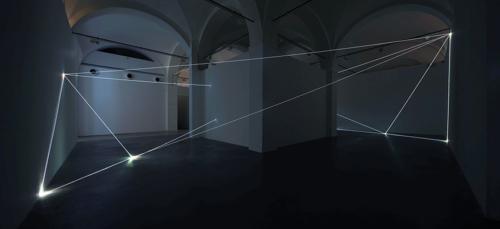 04 Carlo Bernardini Beyondlimit, 2016 Fiber optic installation, mt h 4,5 x 11 x 12. Mata, Ex Manifattura tabacchi, Modena