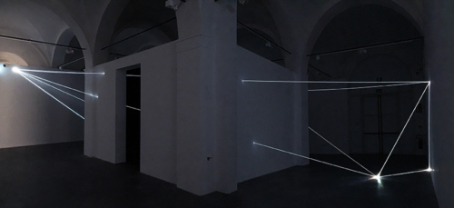 05 Carlo Bernardini Beyondlimit, 2016 Fiber optic installation, mt h 4,5 x 11 x 12. Mata, Ex Manifattura tabacchi, Modena